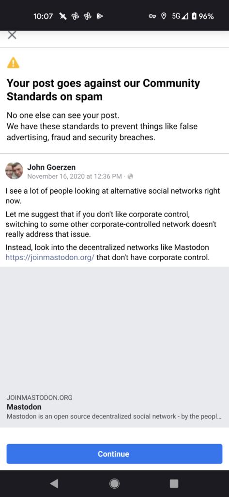Facebook censoring a post